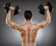 Bodybuilder back with dumbbells Royalty Free Stock Photo