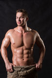 Bodybuilder in a bag Royalty Free Stock Photo