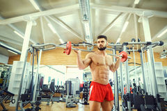Bodybuilder with a bar  barbell makes exercises in the gym Stock Images