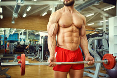 Bodybuilder with a bar  barbell makes exercises in the gym Stock Photo