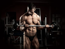 Bodybuilder with barbel Royalty Free Stock Images