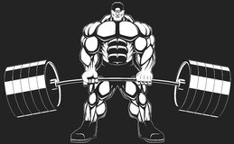 Bodybuilder with a barbell Stock Images