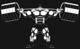 Bodybuilder with a barbell. Illustratio, a ferocious bodybuilder with a barbell Stock Photography