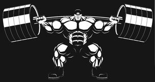 Bodybuilder with a barbell. Illustratio, a ferocious bodybuilder with a barbell Stock Photos