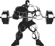 Bodybuilder with a barbell. Illustratio, a ferocious bodybuilder with a barbell Stock Image