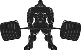 Bodybuilder with a barbell. Illustratio, a ferocious bodybuilder with a barbell, vector silhouette Royalty Free Stock Photo