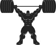 Bodybuilder with a barbell. Illustratio, a ferocious bodybuilder with a barbell, vector silhouette Royalty Free Stock Photos