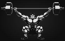 Bodybuilder with a barbell. Illustration a ferocious bodybuilder with a barbell Stock Photo