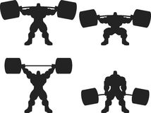 Bodybuilder with a barbell. Illustration, a ferocious bodybuilder with a barbell, vector silhouette,set Royalty Free Stock Photos