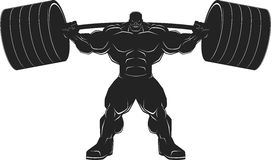 Bodybuilder with a barbell. Illustration vector, silhouette Royalty Free Stock Photography