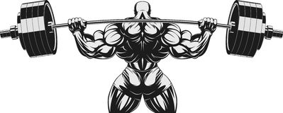 Bodybuilder with barbell n. Vector illustration, bodybuilder performs an exercise with a barbelln Royalty Free Stock Photography