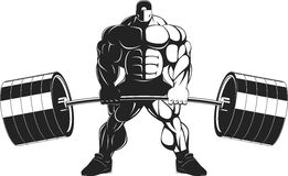 Bodybuilder with a barbell. Vector illustration, bodybuilder performs an exercise with a barbell Royalty Free Stock Photo