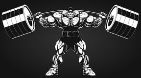 Bodybuilder with a barbell. Vector illustration, bodybuilder performs an exercise with a barbell Stock Photography
