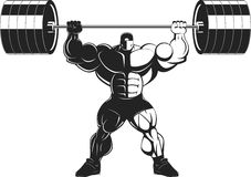 Bodybuilder with a barbell. Vector illustration, bodybuilder performs an exercise with a barbell Royalty Free Stock Photos