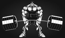 Bodybuilder with a barbell. Vector illustration, bodybuilder performs an exercise with a barbell Stock Photos