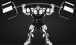 Bodybuilder with a barbell. Vector illustration, bodybuilder performs an exercise with a barbell Royalty Free Stock Photography