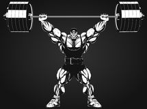 Bodybuilder with a barbell. Vector illustration, bodybuilder performs an exercise with a barbell Royalty Free Stock Images
