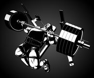 Bodybuilder with a barbell. Vector illustration, bodybuilder performs an exercise with a barbell Stock Image