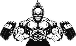 Bodybuilder with a barbell. Vector illustration of a strong bodybuilder with barbell Stock Photos
