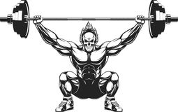 Bodybuilder with a barbell. Vector illustration of a strong bodybuilder with barbell Royalty Free Stock Images