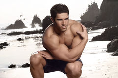Bodybuilder at beach stock photos