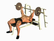 Bodybuilder bench pressing Stock Image