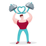 Bodybuilder bending barbell in shape of heart. I Love Fitness. Muscular bodybuilder bending a barbell in the shape of a heart stock illustration