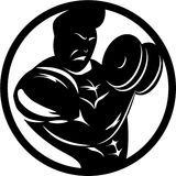 Bodybuilder Bicep Curl. Bodybuilder abstract silhouette curling dumbbell for bicep development Royalty Free Stock Images