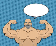 Bodybuilder with big muscles and bubble. People in style of pop Stock Images