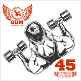 Bodybuilder and Bodybuilding Fitness logos emblems. Sports icons.   on white. Stock Photo