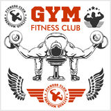 Bodybuilder and Bodybuilding Fitness logos emblems. Sports icons.   on white. Royalty Free Stock Photos