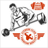 Bodybuilder and Bodybuilding Fitness logos emblems. Sports icons.   on white. Stock Photography