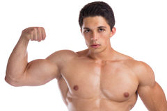 Bodybuilder bodybuilding flexing biceps muscles body builder bui. Lding strong muscular young man isolated on a white background Stock Photos