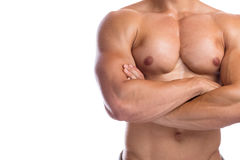 Bodybuilder bodybuilding flexing chest muscles posing copyspace Royalty Free Stock Photos