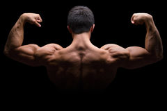 Bodybuilder bodybuilding flexing muscles posing back biceps stro. Ng muscular young man isolated on a black background Royalty Free Stock Images