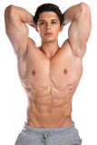 Bodybuilder bodybuilding flexing muscles posing body builder bui. Lding strong muscular young man isolated on a white background Stock Image