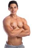 Bodybuilder bodybuilding mięśni młodego człowieka silny mięśniowy isola Obrazy Royalty Free