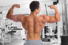 Bodybuilder bodybuilding muscles back biceps fitness gym strong Stock Photo