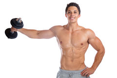 Bodybuilder bodybuilding muscles body builder building shoulder. Shoulders training strong muscular young man dumbbell isolated on a white background stock photo