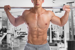 Bodybuilder bodybuilding muscles fitness gym body builder buildi. Ng abs strong muscular man studio Royalty Free Stock Photography