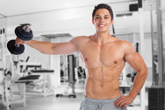 Bodybuilder bodybuilding muscles gym shoulder shoulders training. Strong muscular man fitness studio royalty free stock photo