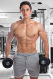 Bodybuilder bodybuilding muscles gym strong muscular young man d. Umbbells training fitness studio royalty free stock photography