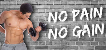 Bodybuilder bodybuilding muscles no pain no gain body builder bu. Ilding power strong muscular young man dumbbell biceps training fit royalty free stock image