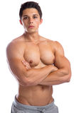 Bodybuilder bodybuilding muscles strong muscular upper body youn Stock Photography