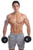 Bodybuilder bodybuilding muscles strong muscular young man dumbb Stock Image