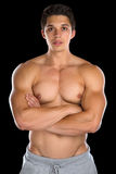 Bodybuilder bodybuilding muscles strong muscular young man isola Stock Photography