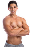 Bodybuilder bodybuilding muscles strong muscular young man isola Royalty Free Stock Images