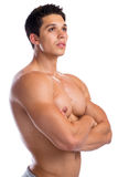 Bodybuilder bodybuilding muscles strong muscular young man looki Royalty Free Stock Images