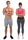 Bodybuilder bodybuilding woman man fitness muscles standing whole body portrait muscular young isolated. Bodybuilder bodybuilding women men fitness muscles royalty free stock image