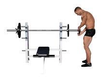 Bodybuilder changing weights Royalty Free Stock Photography